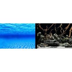 Фон двухсторонний высота 60 см. Синее море/ Камни с корягами