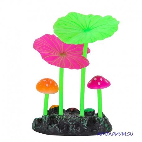 Флуоресцентная декорация 2 гриба и 2 листа лотоса