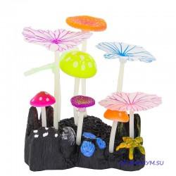 Флуоресцентная декорация 5 грибов и 4 листа Лотоса